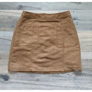 Old Navy Faux Suede Mini Skirt Brown Size 0